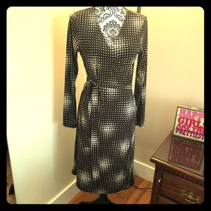 Brown and cream pattern wrap dress